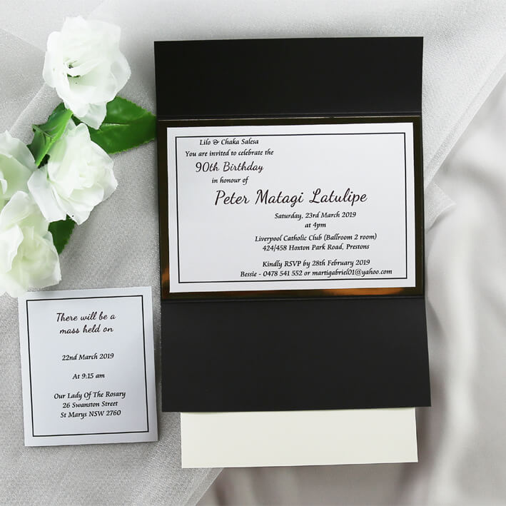 BIRINV53 Black White And Gold Photo Formal Birthday Invitation Inside