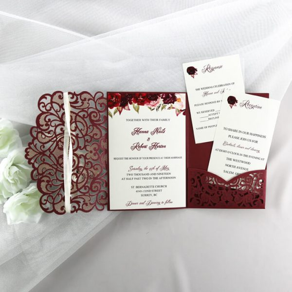 WEDINV113 burgundy lasercut sweetheart floral weddining invitations with pocket