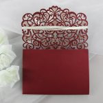 WEDINV113 inside panel of burgundy lasercut sweetheart floral weddining invitations with pocket
