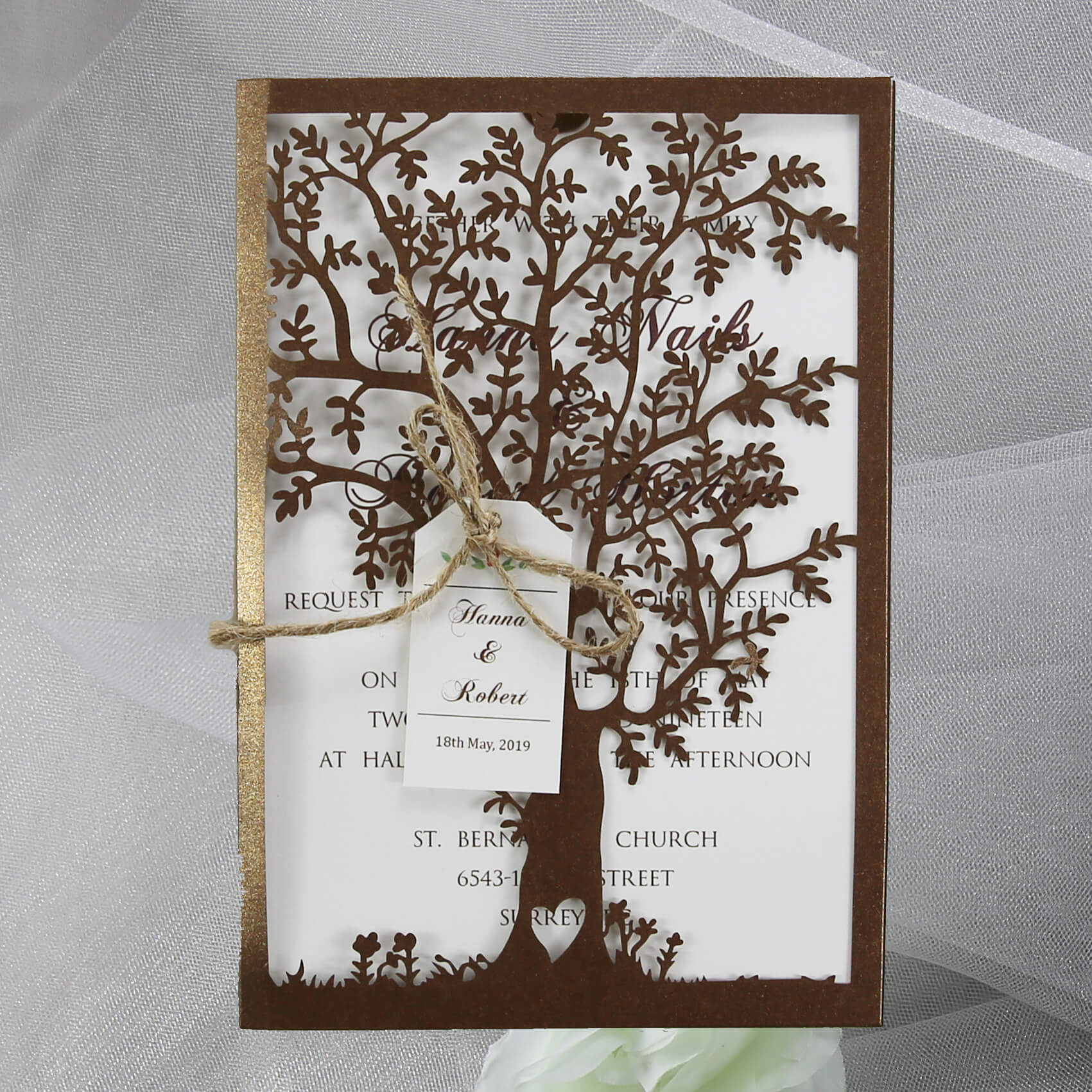 Bronze Lasercut Tree Invitation Red Rose Invitations