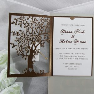 WEDINV127 inside of Bronze lasercut tree wedding invitations