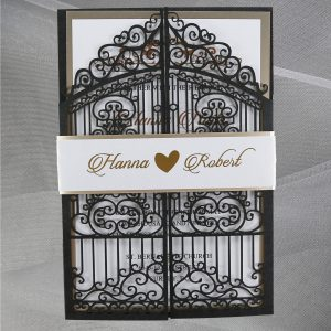 WEDINV138 Black lasercut gates wedding invitation with silver foil and belly band