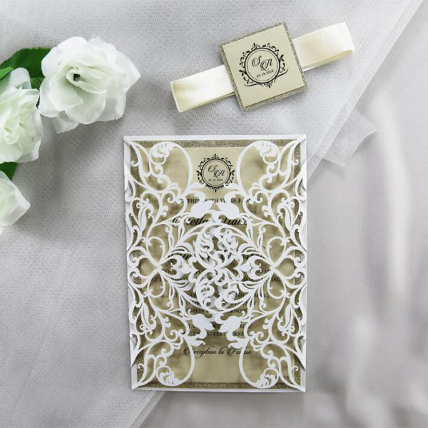WEDINV202 White lasercut wedding invitation with gold glitter front