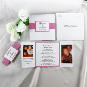 WEDINV204 Pink glitter and white wedding invitation with photos 300x300