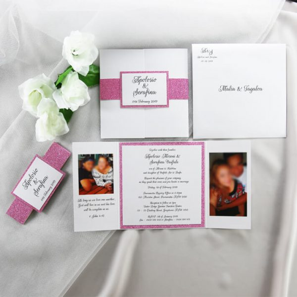 WEDINV204 Pink glitter and white wedding invitation with photos