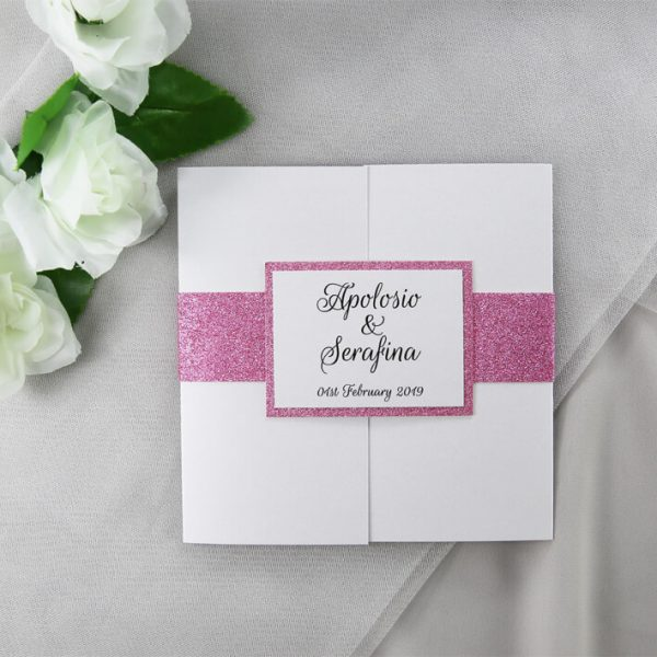 WEDINV204 Pink glitter and white wedding invitation with photos front