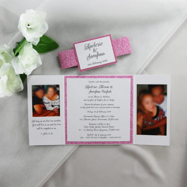 WEDINV204 Pink glitter and white wedding invitation with photos inside