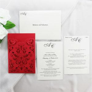 WEDINV205 Red and ivory pocket lasercut wedding invitation set 300x300