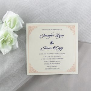 WEDINV57 Raised ink uv printed wedding invitation in blue and pink