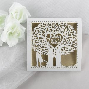 WEDINV81 Laercut tree rustic wedding invitation