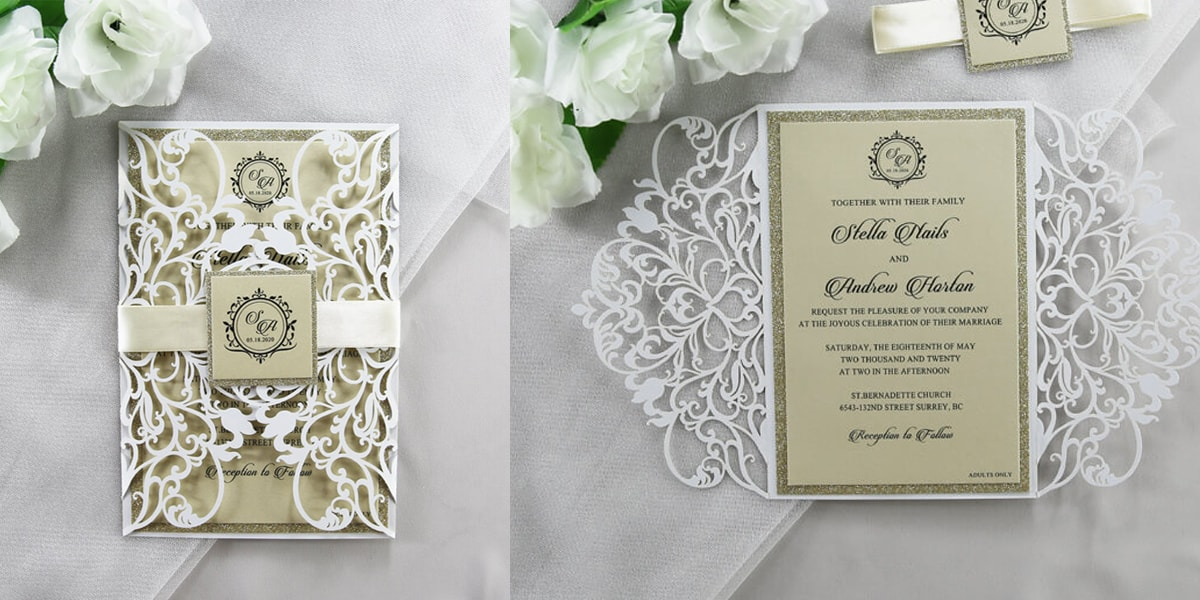 Champagne gold and white lasercut invitation